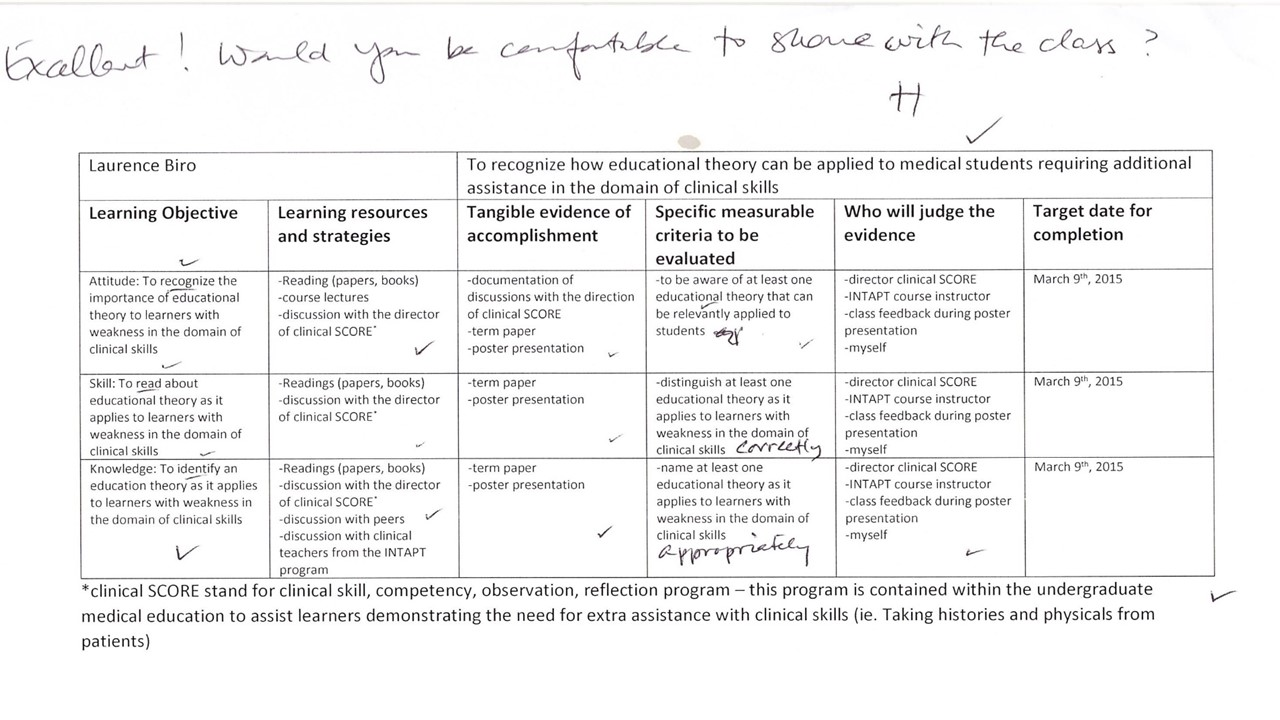 Reflection on learning contract laurence biro 39 s for Student teacher contract template